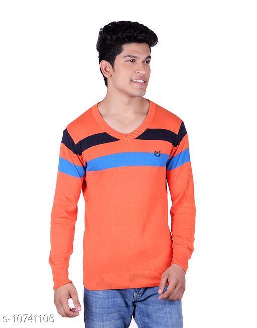 Ogarti cotton Stripper V Neck Orange  Colour Sweater