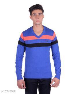 Ogarti cotton Stripper V Neck Royal Blue  Colour Sweater