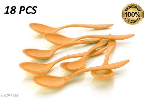 TENIDO 18 Pcs/Set Baby Toddler Feeding Spoon Safe Plastic Baby Training Eating Spoon, Fancy Spoon Set Food (Orange)