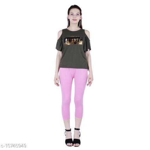 Robinbosky Premium Stretchable Cotton Lycra Pink Lady Capri Leggings For Women