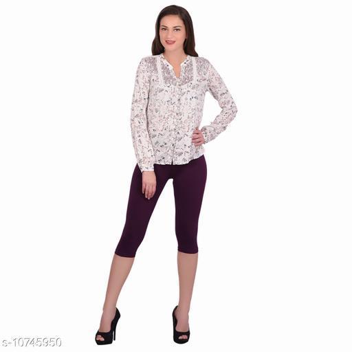 Robinbosky Premium Stretchable Cotton Lycra Plum Capri Leggings For Women