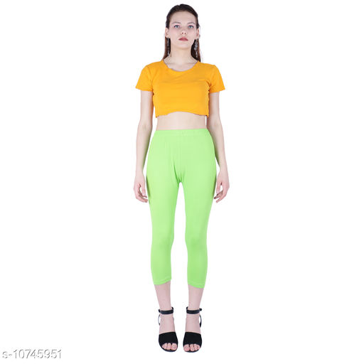 Robinbosky Premium Stretchable Cotton Lycra Green Flash Capri Leggings For Women