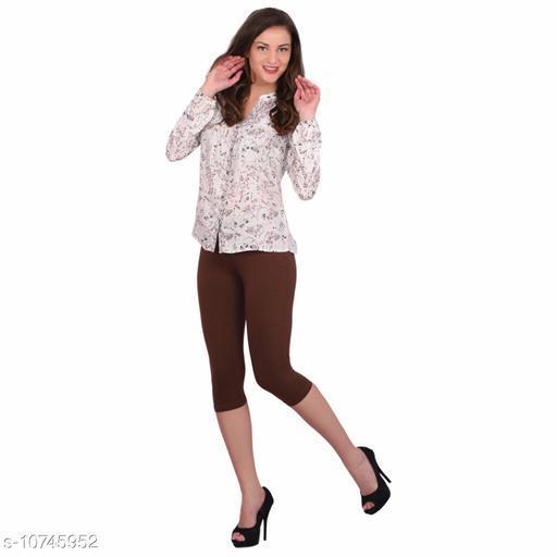 Robinbosky Premium Stretchable Cotton Lycra Dark Chocolate  Capri Leggings For Women