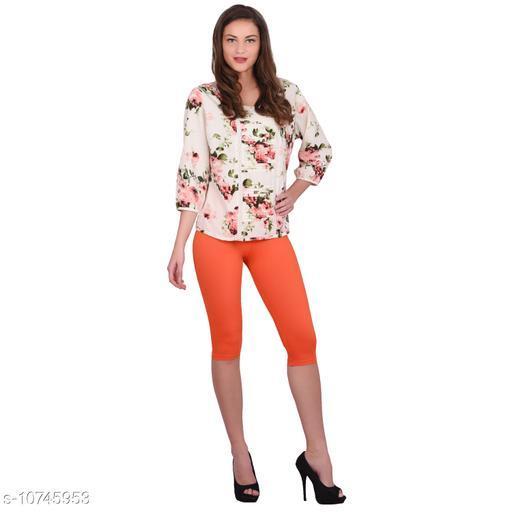 Robinbosky Premium Stretchable Cotton Lycra Tangerine Tango Capri Leggings For Women