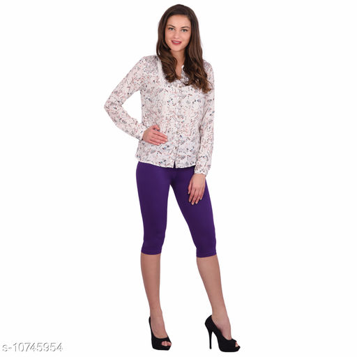 Robinbosky Premium Stretchable Cotton Lycra Grape Capri Leggings For Women