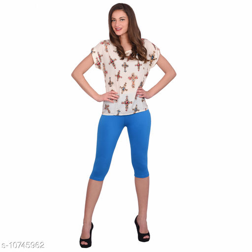 Robinbosky Premium Stretchable Cotton Lycra Sun Yellow Capri Leggings For Women