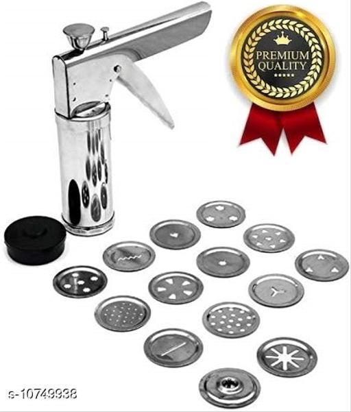 Stainless Steel Kitchen Press with 15 Different Types of Jalies, ???? ???????? Maker/Bhujiya Maker/Noodles/Murukku/Cookies/chakli/Namkeen/Sev Maker Sancha (Steel, Stainless Steel)