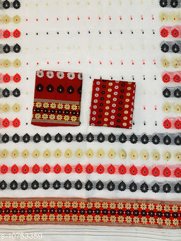 ASSAMESE MEKHELA SADOR / MEKLA CHADAR NUNI COTTON RED WHITE BUWA (MACHINE MADE) ARW253