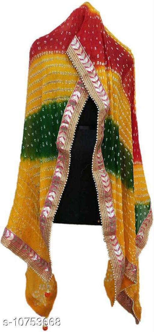 Rajasthani Ethnic Art Silk Blend Bhandhej Bandhani Stylish Partywear Festival Casual Dupatta 2.25 meter Multicolor
