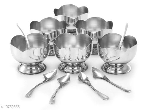 Stainless Steel Cut Design Dessert Cups & Serving Bowl for Ice Cream/Salad/Fruit/Pudding, Set of 6-150 ML