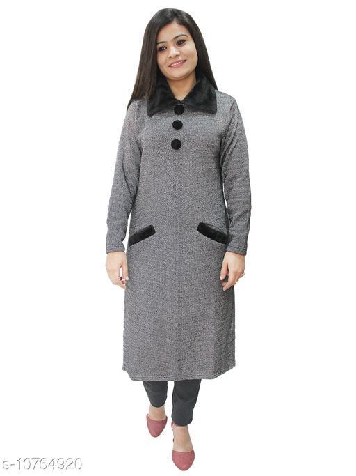 Designer Womens Woollen Straight Kurti with Fur Collars