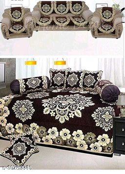 Kanha Décor presents Chenille attractive designer Diwan set which contain 1 bedsheet , 2 bolster with 5 cushion cover & 10 pcs set sofa cover