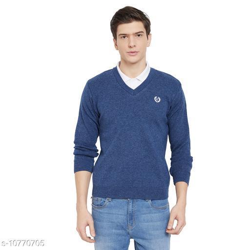 kvetoo Men Wool Blend Full Sleeve V Neck Casual Winter Wear Sweater