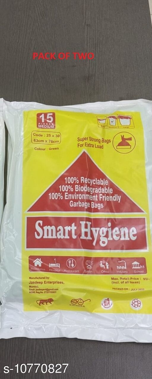 Garbage Bags 100% Biodegradable Garbage Bags  *Material* Biodegradable Plastic  *Multipack* 30 pieces  *Size* Medium  *Dimensions* Length  *Sizes Available* Free Size *    Catalog Name: 100% Biodegradable Garbage Bags CatalogID_1982444 C89-SC1748 Code: 042-10770827-