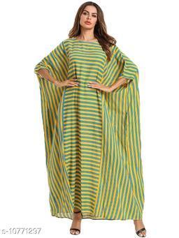 Women Polyester Kaftan Stripe Kurti