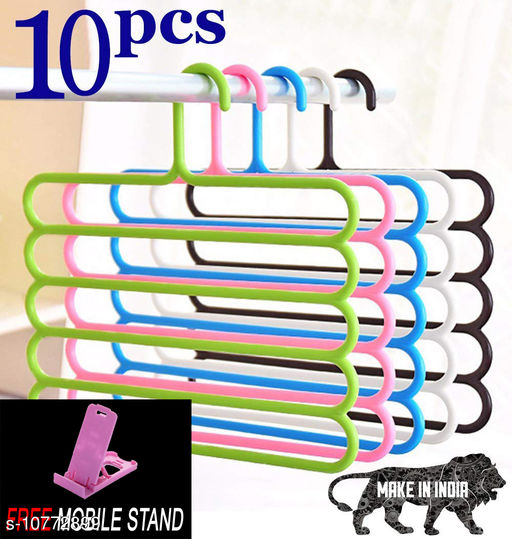 FREE MOBILE STAND WITH Space Saving Plastic Multi-Functional Storage Wardrobe  Organizer Hanger for Shirts, Pants, Skirts (Set of 10, MultiColor )