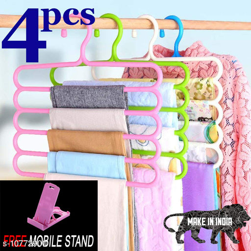 FREE MOBILE STAND WITH Space Saving Plastic Multi-Functional Storage Wardrobe  Organizer Hanger for Shirts, Pants, Skirts (Set of 4, MultiColor )