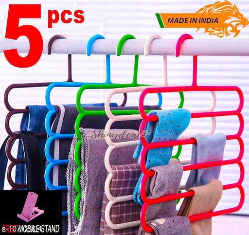 FREE MOBILE STAND WITH Space Saving Plastic Multi-Functional Storage Wardrobe  Organizer Hanger for Shirts, Pants, Skirts (Set of 5, MultiColor )