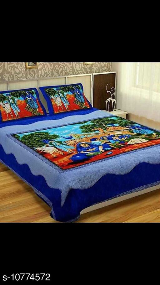 special jaipuri Printed Pure Coton 100x90 Double Bedsheets