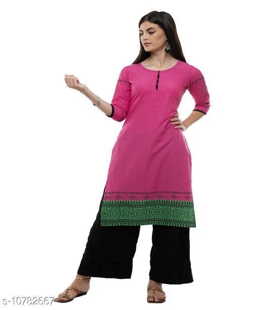 Kurta Sets DEGE Women Cotton Printed Staright Kurta (Pink)  *(Bust Size * 38 in, Hip Size  *Sizes Available* M *    Catalog Name: Aishani Voguish Women Kurta Sets CatalogID_1985376 C74-SC1003 Code: 374-10782667-