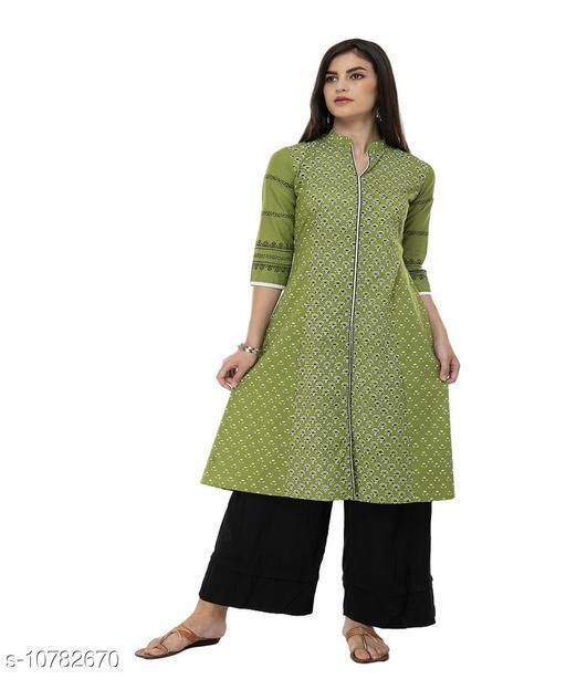 Kurta Sets DEGE Women Cotton Printed A line Kurta (Green)  *(Bust Size * 42 in, Hip Size  *Sizes Available* M *    Catalog Name: Aishani Voguish Women Kurta Sets CatalogID_1985376 C74-SC1003 Code: 374-10782670-