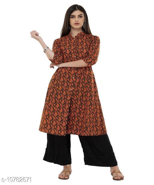 Kurta Sets DEGE Women Cotton Printed A line Kurta (Orange)  *(Bust Size * 40 in, Hip Size  *Sizes Available* M *    Catalog Name: Aishani Voguish Women Kurta Sets CatalogID_1985376 C74-SC1003 Code: 374-10782671-