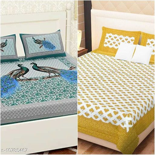 100 % cotton Two Double bedsheet with 4 pillow cover(Pack of 2)