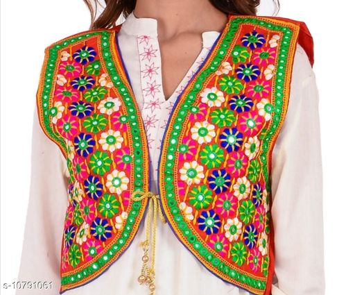 Ethnic Jackets & Shrugs  Ethnic Jackets & Shrugs Women Ethnic Jackets  *Fabric* Dupion Silk  *Sleeve Length* Sleeveless  *Pattern* Embroidered (only in front side)  *Combo of* Single  *Sizes*   *Free Size (Bust Size* 38 in, Length Size MSP- 399  *Sizes Available* Free Size *    Catalog Name: Ethnic Jackets & Shrugs CatalogID_1987367 C74-SC1008 Code: 464-10791061-