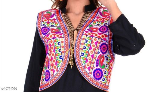 Ethnic Jackets & Shrugs  Ethnic Jackets & Shrugs Women Ethnic Jackets  *Fabric* Dupion Silk  *Sleeve Length* Sleeveless  *Pattern* Embroidered (only in front side)  *Combo of* Single  *Sizes*   *Free Size (Bust Size* 38 in, Length Size MSP- 399  *Sizes Available* Free Size *    Catalog Name: Ethnic Jackets & Shrugs CatalogID_1987367 C74-SC1008 Code: 464-10791066-