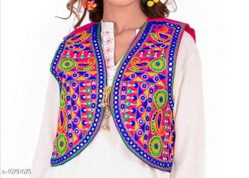 Ethnic Jackets & Shrugs  Ethnic Jackets & Shrugs Women Ethnic Jackets  *Fabric* Dupion Silk  *Sleeve Length* Sleeveless  *Pattern* Embroidered (only in front side)  *Combo of* Single  *Sizes*   *Free Size (Bust Size* 38 in, Length Size MSP- 399  *Sizes Available* Free Size *    Catalog Name: Ethnic Jackets & Shrugs CatalogID_1987367 C74-SC1008 Code: 464-10791073-
