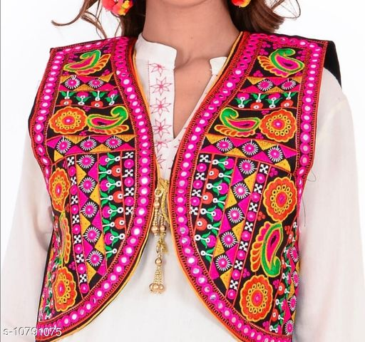 Ethnic Jackets & Shrugs  Ethnic Jackets & Shrugs Women Ethnic Jackets  *Fabric* Dupion Silk  *Sleeve Length* Sleeveless  *Pattern* Embroidered (only in front side)  *Combo of* Single  *Sizes*   *Free Size (Bust Size* 38 in, Length Size MSP- 399  *Sizes Available* Free Size *    Catalog Name: Ethnic Jackets & Shrugs CatalogID_1987367 C74-SC1008 Code: 464-10791075-