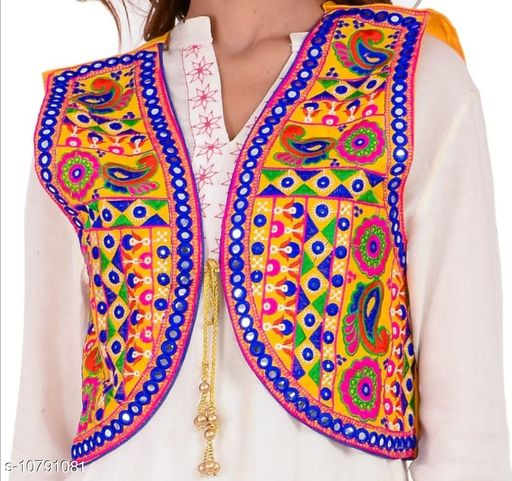 Ethnic Jackets & Shrugs  Ethnic Jackets & Shrugs Women Ethnic Jackets  *Fabric* Dupion Silk  *Sleeve Length* Sleeveless  *Pattern* Embroidered (only in front side)  *Combo of* Single  *Sizes*   *Free Size (Bust Size* 38 in, Length Size MSP- 399  *Sizes Available* Free Size *    Catalog Name: Ethnic Jackets & Shrugs CatalogID_1987367 C74-SC1008 Code: 464-10791081-