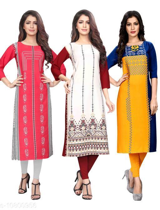 Women's Crepe Digital Print Dress (Pack Of 3)