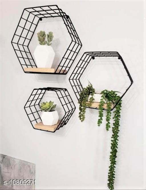 Craft Castle Wall Mounted Hexagonal Shaped Floating Wrought Iron Wall Shelf -Set of 3 (Black)