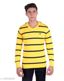 Ogarti cotton Stripper V Neck Yellow  Colour Sweater