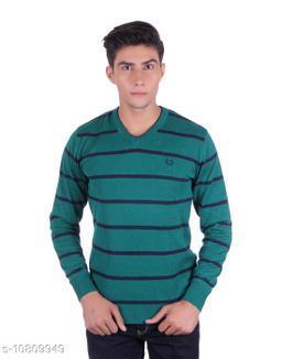 Ogarti cotton Stripper V Neck Green  Colour Sweater