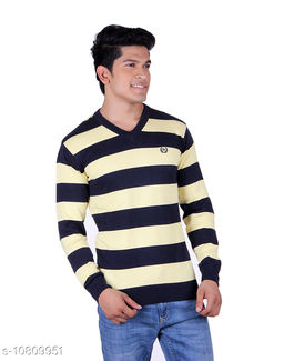 Ogarti cotton Stripper V Neck Navy  Colour Sweater