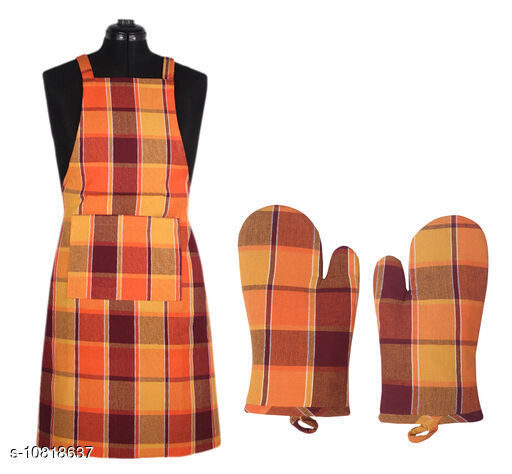 Cotton Checked Apron And Oven Glove Set Of 4 Pc