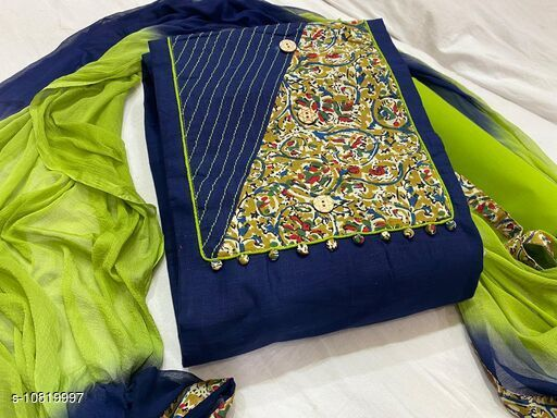 Trendy slub cotton with peach kalamkari Semi Stiched Suits