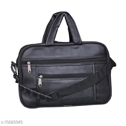 Trendy Men's Black Leather Messenger Bags