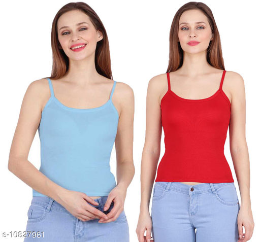 Women Pack of 2 Red Cotton Camisoles