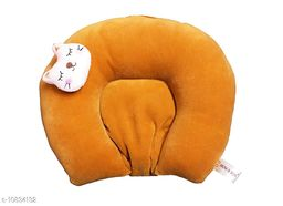 Baby Desire New Born Soft Velvet Rai Mustered Pillow For Head Shaped And Neck Suport AgeGroup 0-9 months(brown)