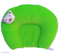 Baby Desire New Born Soft Velvet Rai Mustered Pillow For Head Shaped And Neck Suport AgeGroup 0-9 months(green)