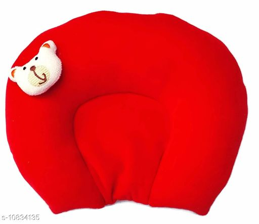 Baby Desire New Born Soft Velvet Rai Mustered Pillow For Head Shaping And Neck Support Age Group 0-9 months (red)