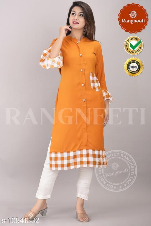 Women Rayon A-line Printed Orange Kurti