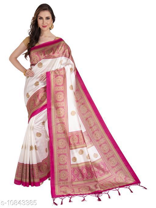 Womens Heavy Printed Mysore Silk Saree with Blouse Piece
