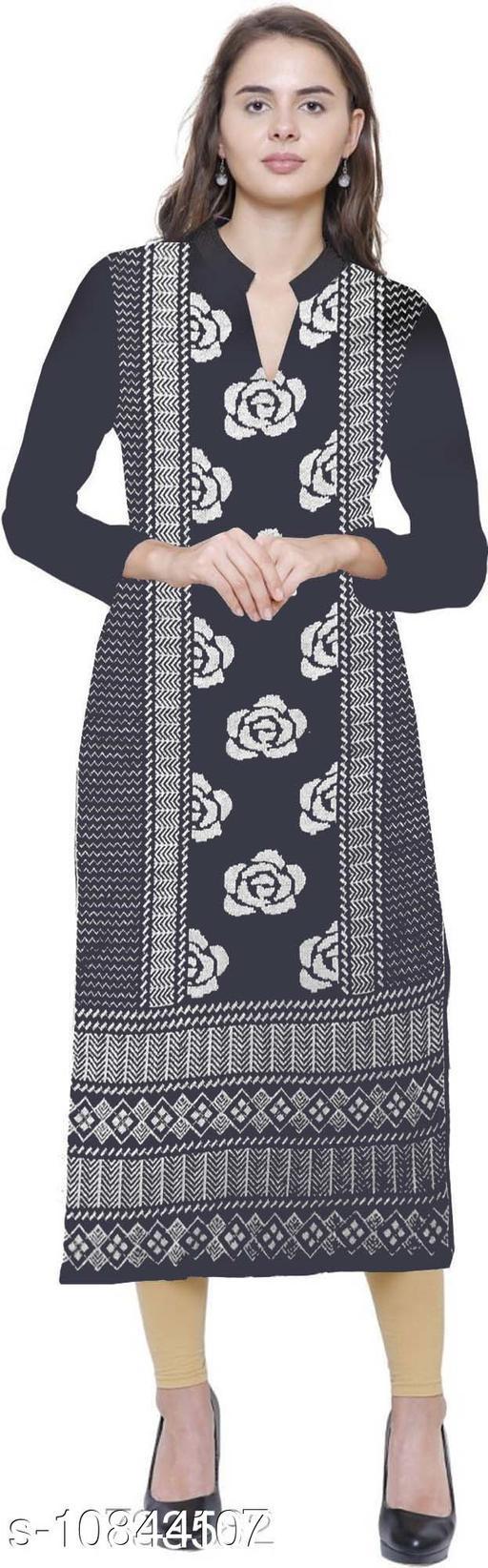 Women's Black Self-Design Wool Kurti