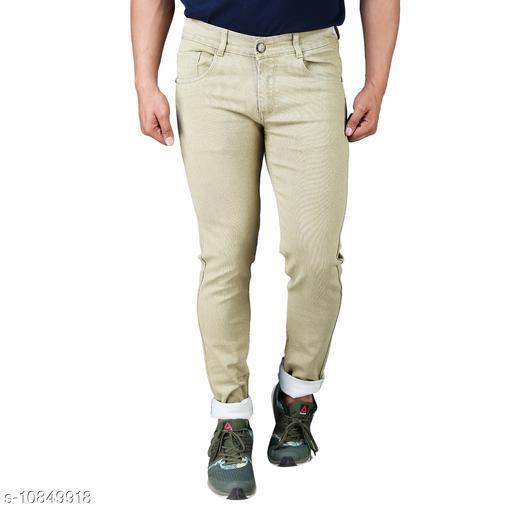 Drragon Men Slim Fit Beige Jeans