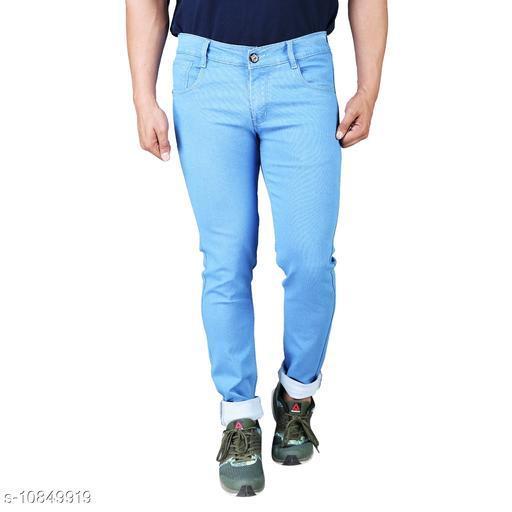 Drragon Men Slim Fit Light Blue Jeans