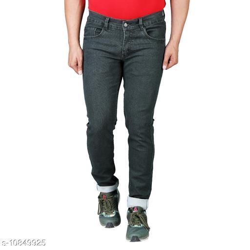 Drragon Men Slim Fit Olive Jeans